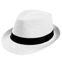 Unisex Trilby Gangster Cap Beach Sun Straw Hat Band Sunhat Protezione so... - $7.21