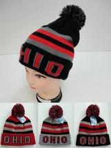 OHIO Pompom Beanie PomPom STATE Hat Winter Toboggan Knit w POM - WARM - $8.48