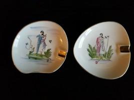 Vintage Lefton China #160 Four Seasons Ashtray w/ Gold Trim Set of 2 - $14.10