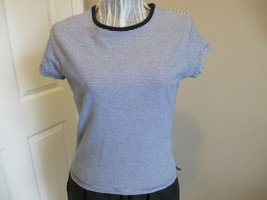 Rt. 66 Stretch Navy and White Striped Top - $7.99