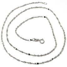 18K WHITE GOLD CHAIN, 1.5 MM SINGAPORE ROPE SPIRAL ALTERNATE LINK, 17.7 INCHES image 1