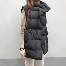 New black warm padded winter vest with pockets cozy sleeveless long wais... - $39.00