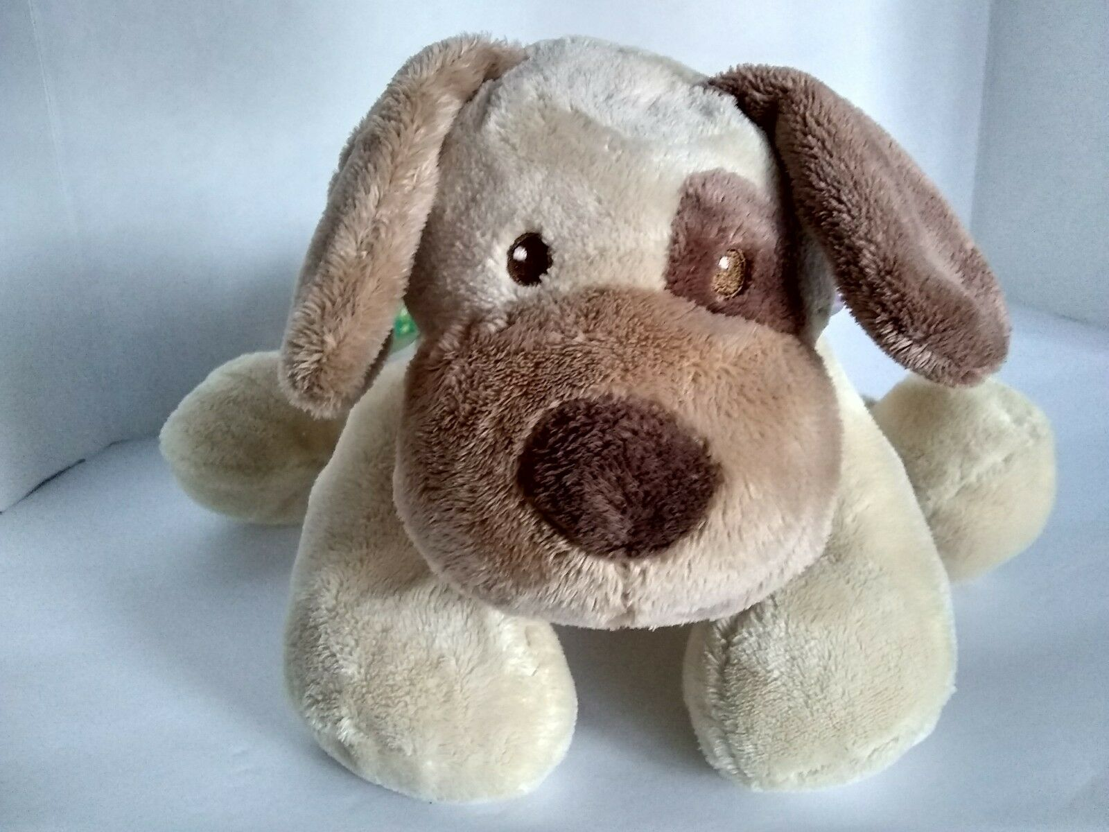 """11"""" Taggies Signature Dog Beige Brown Plush Stuffed Soft Toy Mary Meyer Tags"""
