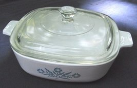 "Corning ""Blue Cornflower"" 1 Qt Casserole Dish P-1-B With Lid - $15.00"