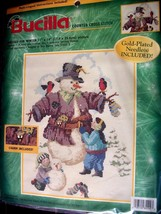 "Counted XStitch kit Bucilla ""DRESSED FOR WINTER"" snowman - children -kit 84294 - $7.69"