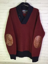 Polo Ralph Lauren Mens 2XL Merino Wool Blend Shawl Collar Sweater Elbow Patch - $66.82