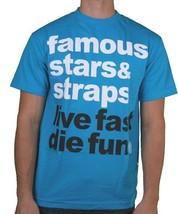 Famous Stars & Straps Uomo Turchese Bianco Semplice Live Fast Die Fun T-Shirt