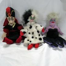 Disney Beanie Plush Lot of 3 Villians Cruella Ursula Jafar  - $29.99