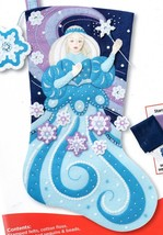 Bucilla Snow Princess Frozen Ice Queen Blue Christmas Felt Stocking Kit 86937 - $47.95