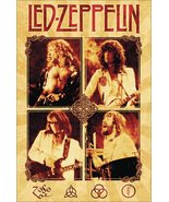 Led Zeppelin Band Live Parchment Color Stand-Up Display - Rock Collectib... - $15.99