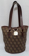 Signature Dooney & Bourke Bucket Bag Gold Hardware Key Closure Brown Tan... - $120.94