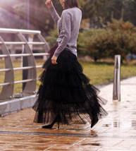 Women Black Tiered Tulle Skirt Full Long Black Tulle Layered Skirt Plus Size image 2