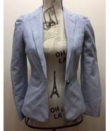 H&M Women Seersucker Blazer Blue White Stripe Size 2 Cotton Blend - $37.22