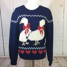Vintage 80's The Woolrich Ducks Goose Wool Sweater Size Large - $698,04 MXN