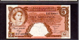 "EAST AFRICAN CURRENCY BOARD P41a 5 SHILLINGS 1961ND GRADED AU ""QE II"" - $495.00"