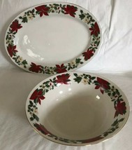 Gibson China Poinsettia Serving Platter Oval Tray Vegetable Bowl Holiday... - $39.59