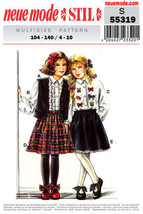 Vintage Neue Mode, Pattern S 55319, Girls Skirt, and Blouse Vest, Multi ... - $12.00