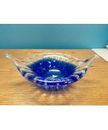 Vintage USSR Cobalt Blue & Clear Wing Bowl Hand Blown 24% Lead Crystal   - $138.55