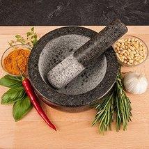 Kota Japan Large Black Granite Mortar & Pestle Natural Stone Grinder for Spices, image 3