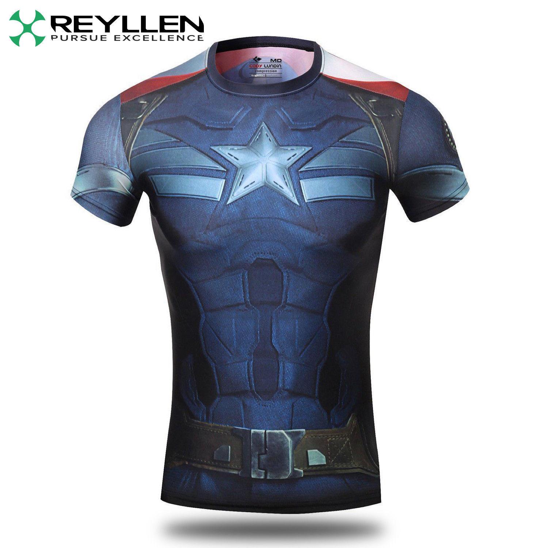 Capitaine América Super Héros Compression T-Shirt Chemise Course Cyclisme UK