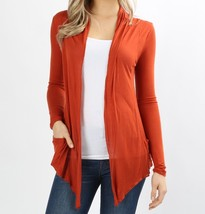 Rust Open Front Flyaway Cardigan, Lightweight Rayon Layering Sweater, Womens