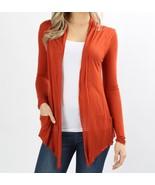 Rust Open Front Flyaway Cardigan, Lightweight Rayon Layering Sweater, Wo... - $17.99