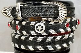 Black HATBAND with Silver Lacing, CRYSTALS, STAR CONCHOS and Buckle Set ... - $28.97