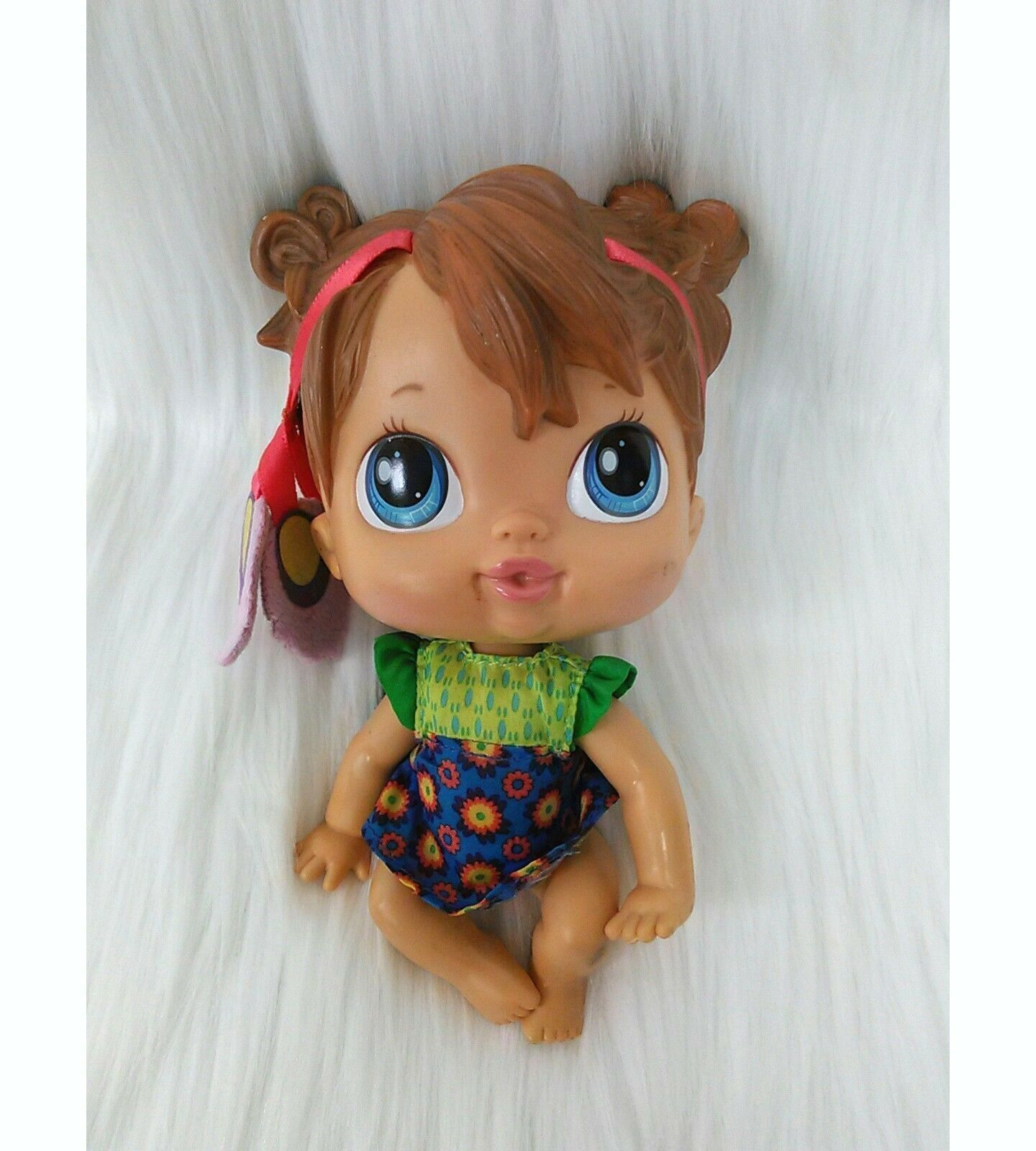 "6"" Baby Alive Crib Life Makayla Song Doll Retired 2010 Brown Hair Blue Eyes B211"