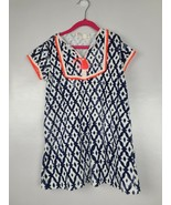 Crewcuts Girls Terry Dress Size 6 White Black Short Sleeve Printed Cover Up - $26.88