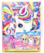 Lisa Frank Rainbow Unicorn Puzzle Keeper Kit 3 Puzzles Stickers 63 Piece... - $14.84