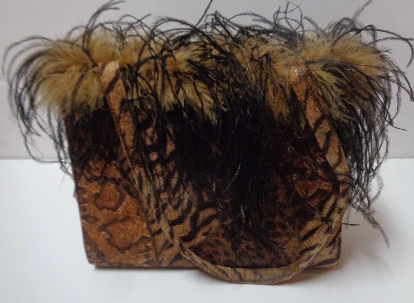 "Animal Print & Fur Purse NWOT 8"" x 11"" x 3"" Shoulder Double Strap"