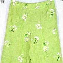 Talbots Irish Linen Ankle Cropped Pants Women Size 4P Green Floral Embro... - $17.81