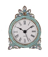 NIKKY HOME Vintage Pewter Quartz Mini Table Clock with Crystal Shining R... - $18.95