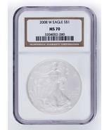 2008-W Brunito Argento American Eagle Selezionato di NGC come MS70! Nice... - $89.30