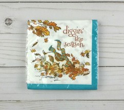 Paper Beverage Cocktail Napkins 20 ct Fall Leaves Dog - $2.99