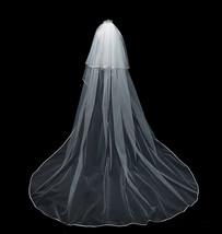 Cathedral Length Wedding Bridal Veil Full Edge Tulle White Veils Wedding Photo  image 9