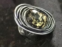 Shabool Israel DIDAE  Sterling Silver resin ELONGATED Ring  Sz 7 ELEGANT - $44.54