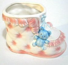 """Vintage Inarco Japan Planter Baby Bootie Pink Blue E-4939 6x4.5"""" - $11.88"""