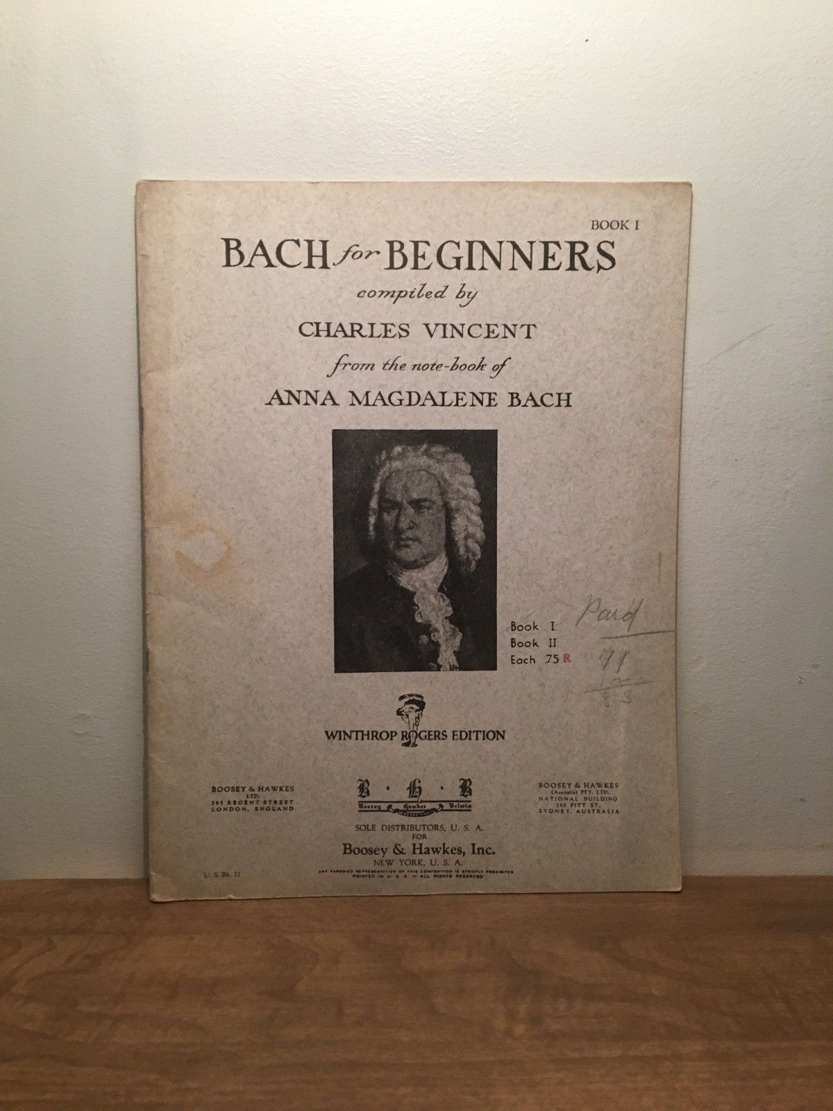 Bach for Beginners Compiled by Charles Vincent Book 1 PB