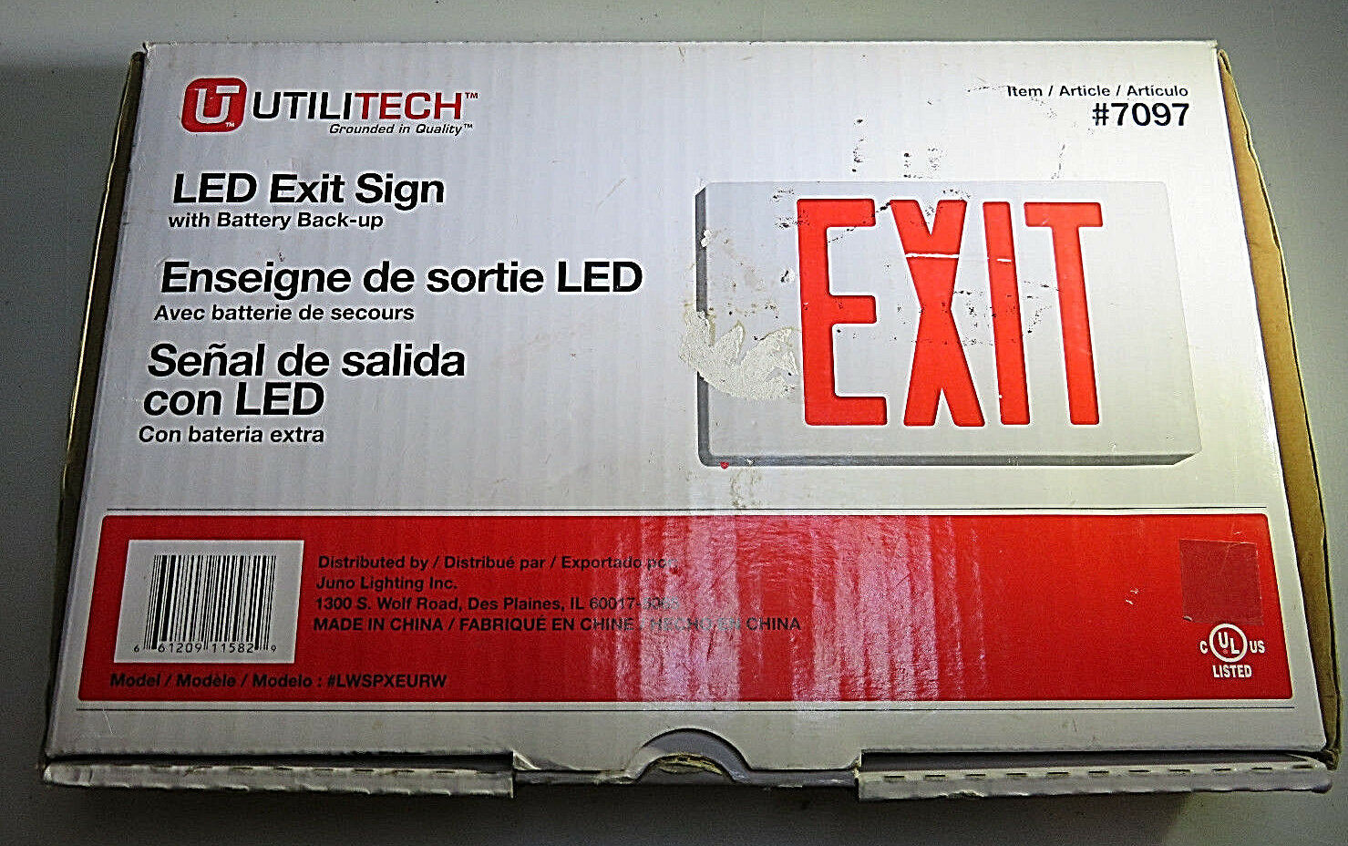 Primary image for Utilitech LED Exit Sign Red Lettering Universal