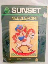 Needlepoint 1983 RIDE 'EM TEDDY 1983 New Wool Kit 9 x12 Vintage - $15.83