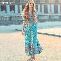 Women's New Boho Floral Print Long Maxi Beach Sundress image 8