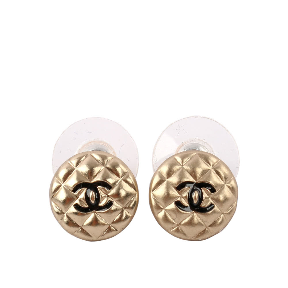 SALE***Authentic Chanel CC Logo Stunning Quilted Circle Stud Earrings GOLD