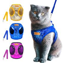 Adjustable bling sequins walking vest belt harness and leash set fit for... - $14.65