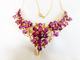VTG Ladies 14k yellow gold 16.55 TCW Ruby & Diamond Floral design Necklace - $10,216.80