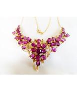 VTG Ladies 14k yellow gold 16.55 TCW Ruby & Diamond Floral design Necklace - $10,216.80