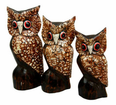 Balinese Wood Handicrafts Eggskin Feathers Forest Owl Family Set of 3 Fi... - $23.99