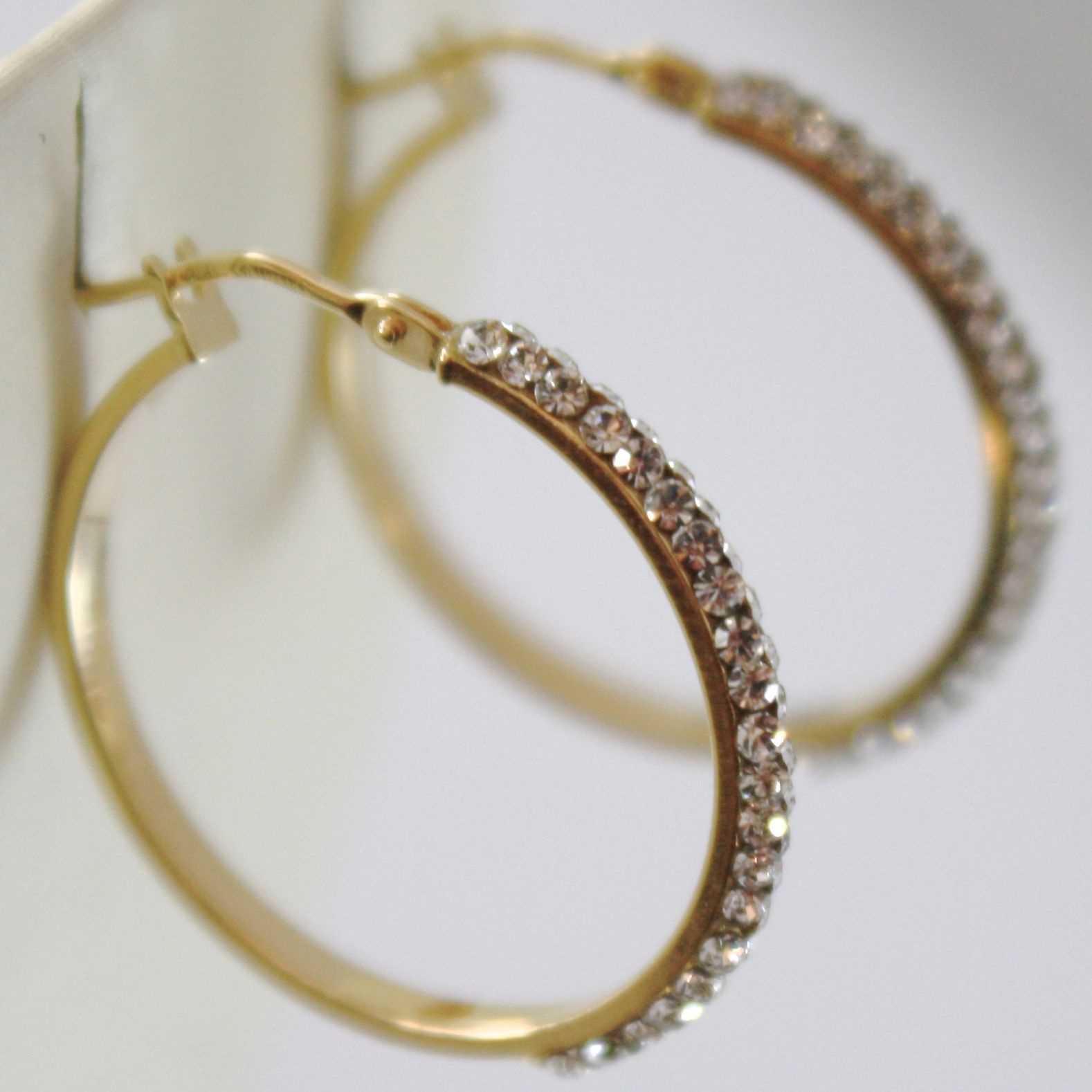 YELLOW GOLD EARRINGS 750 18K CIRCLE, 2.5 CM, WITH CUBIC ZIRCON DOUBLE ROW