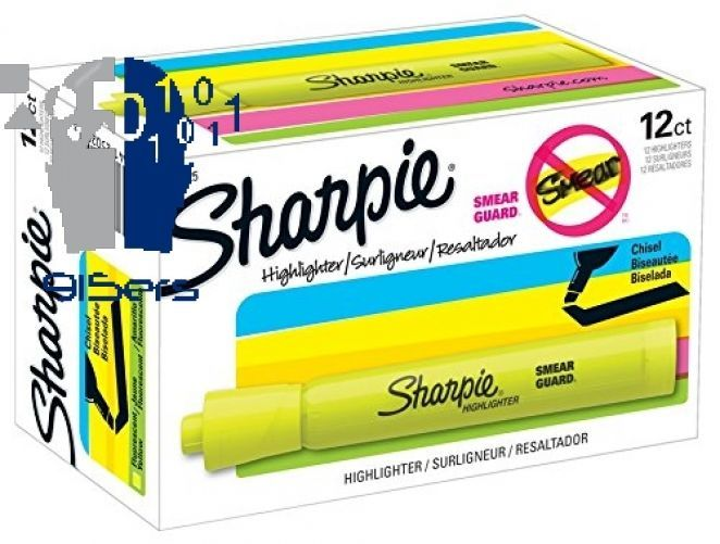 Sharpie Tank Highlighters, Chisel Tip, Fluorescent Yellow, 12-Count