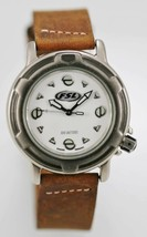 Fossil Watch Men Stainless Silver 100m Water Resistant Brown Leather Quartz - $35.13